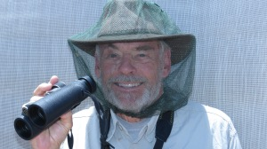 The author, birding in black fly country (photo Prudy Bowers)
